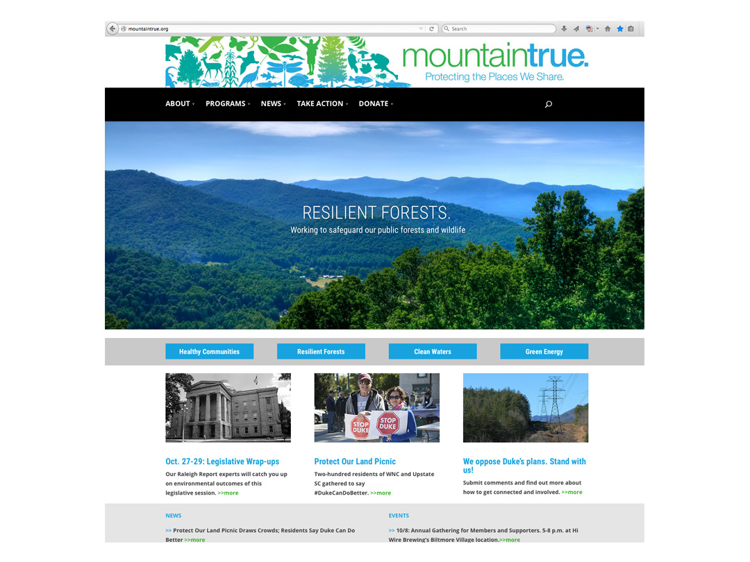 Website for MountainTrue, environmental organization