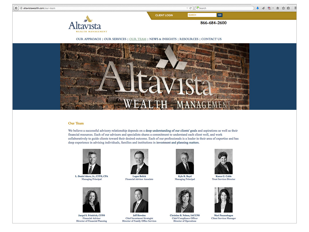Website for Altavista Wealth Management