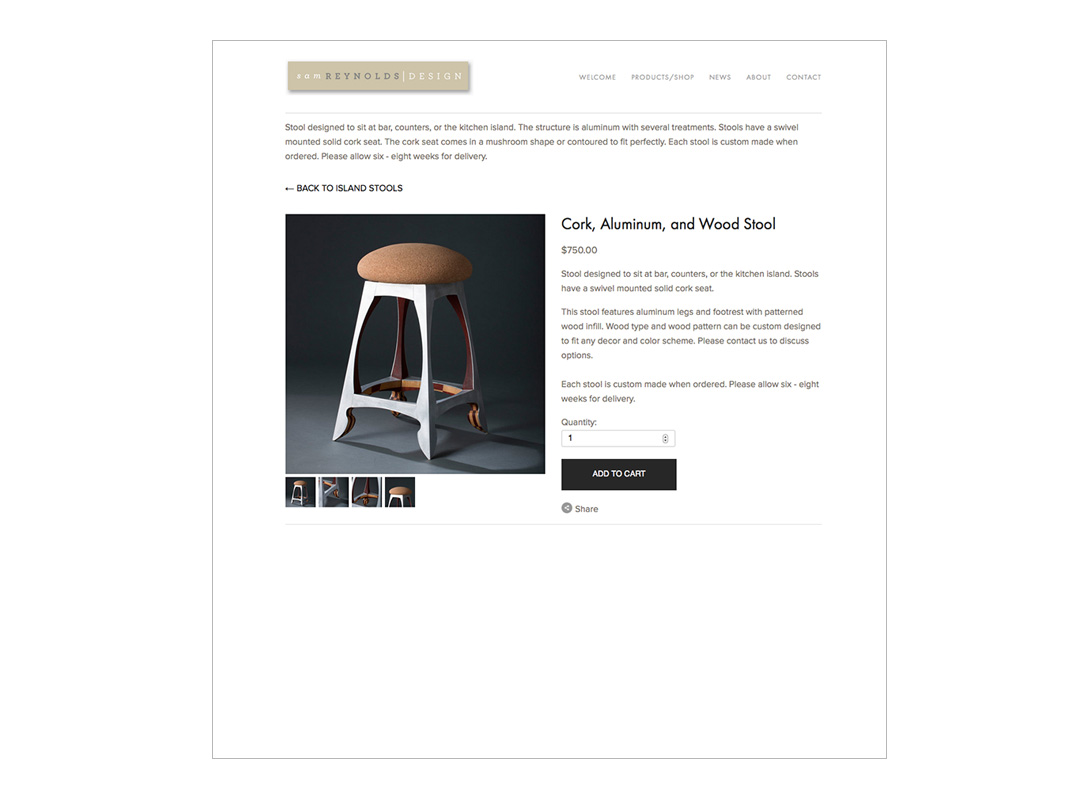 Website for craftsman Sam Reynolds