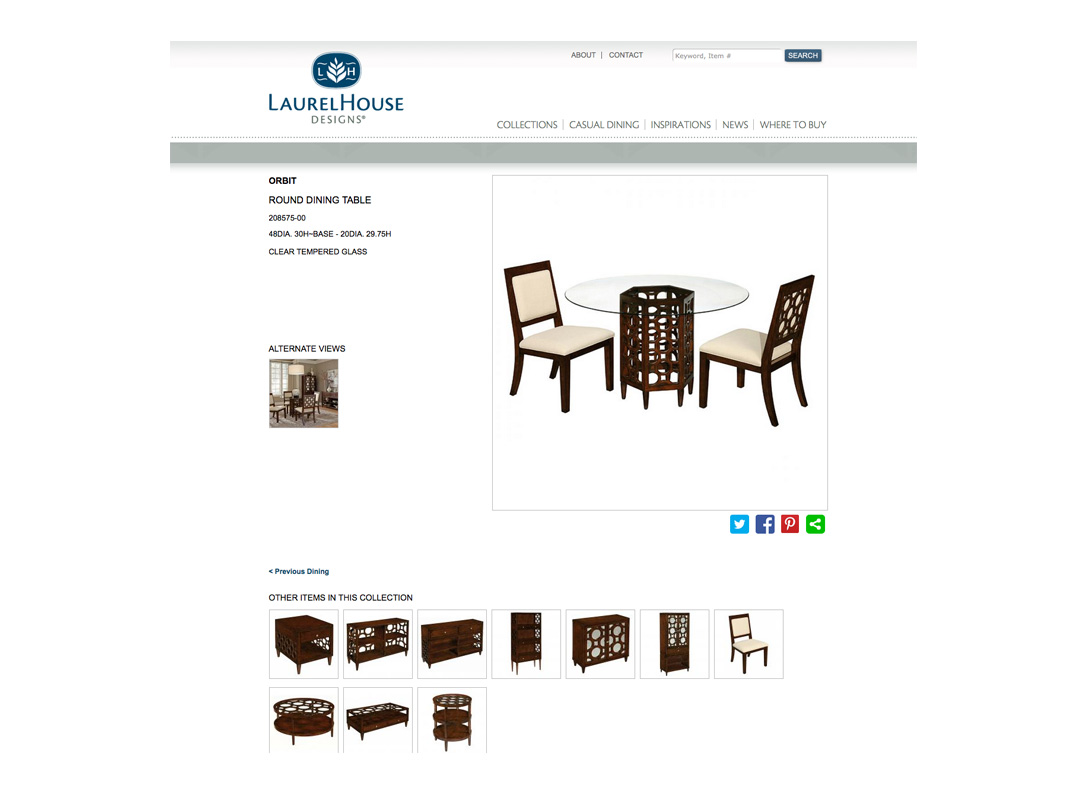 Website for LaurelHouse Designs, furniture manufacturer