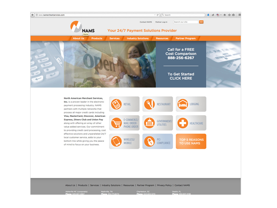 Website for NAMS, a credit card processing service